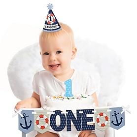 Ahoy - Nautical 1st Birthday - First Birthday Boy Smash Cake Decorating Kit - High Chair Decorations