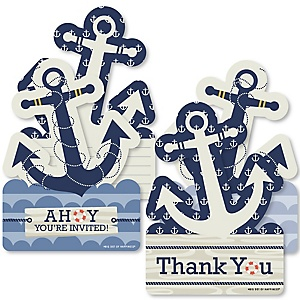 Ahoy - Nautical - 20 Shaped Fill-In Invitations and 20 Shaped Thank You Cards Kit - Baby Shower or Birthday Party Stationery Kit - 40 Pack