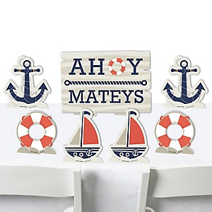 Ahoy - Nautical - Baby Shower or Birthday Party Centerpiece Table Decorations - Tabletop Standups - 7 Pieces