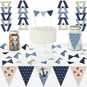 Ahoy - Nautical - DIY Pennant Banner Decorations - Baby Shower or Birthday Party Triangle Kit - 99 Pieces