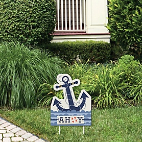 Ahoy - Nautical - Outdoor Lawn Sign - Baby Shower or Birthday Party Yard Sign - 1 Piece