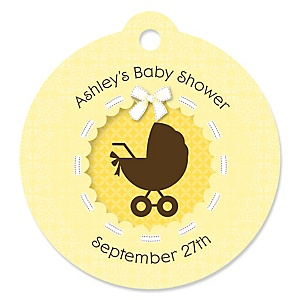 Neutral Baby Carriage - Round Personalized Baby Shower Die-Cut Tags - 20 ct