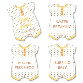 Baby Neutral - Baby Shower Game - Baby Charades Cards - Set of 24