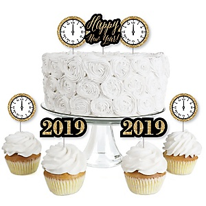 new years eve gold dessert cupcake toppers new years eve 2019 party clear treat picks set of 24