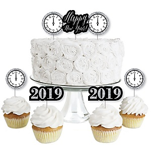 New Year's Eve - Silver - Dessert Cupcake Toppers - New Years Eve 2019 Party Clear Treat Picks - Set of 24