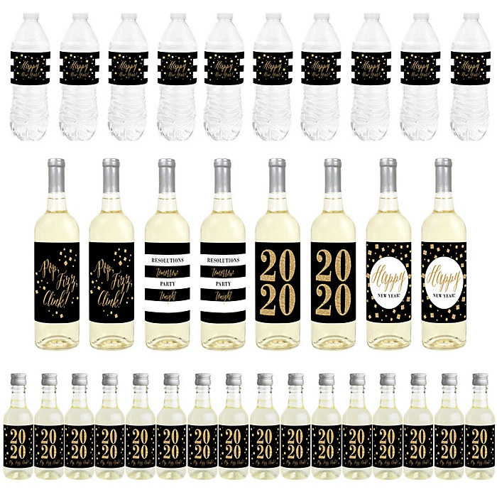 New Year's Eve - Gold - Mini Wine Bottle Labels, Wine Bottle Labels and Water Bottle Labels - 2020 New Years Eve Party Decorations - Beverage Bar Kit - 34 Pieces
