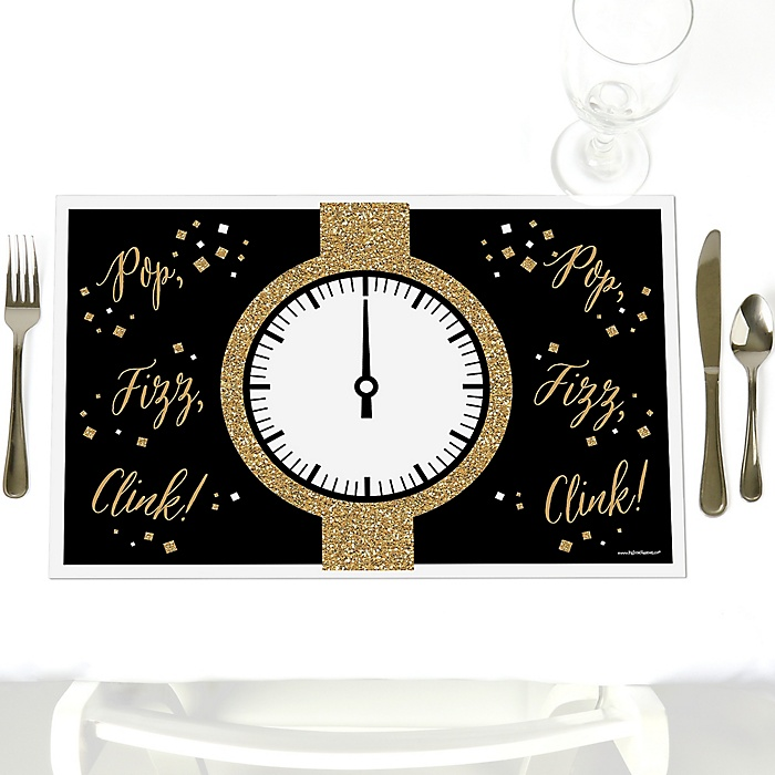 New Year's Eve - Gold - Party Table Decorations - New Year's Eve Party Placemats - Set of 12