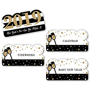 New Year's Eve - Gold - 2019 New Years Eve Party Game - Can You Picture It Card Game - Set of 24