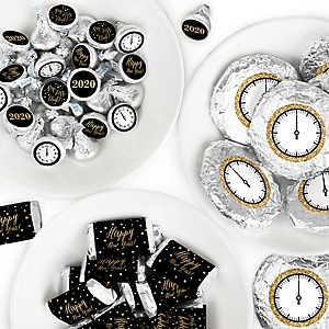 New Year's Eve - Gold - Mini Candy Bar Wrappers, Round Candy Stickers and Circle Stickers - 2020 New Years Eve Party Candy Favor Sticker Kit - 304 Pieces