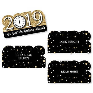 New Year's Eve - Gold - 2019 New Years Eve Party Game - Holiday Charades Cards - Set of 24