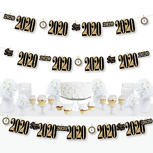 New Year's Eve - Gold - 2020 New Years Eve Party DIY Decorations - Clothespin Garland Banner - 44 Pieces