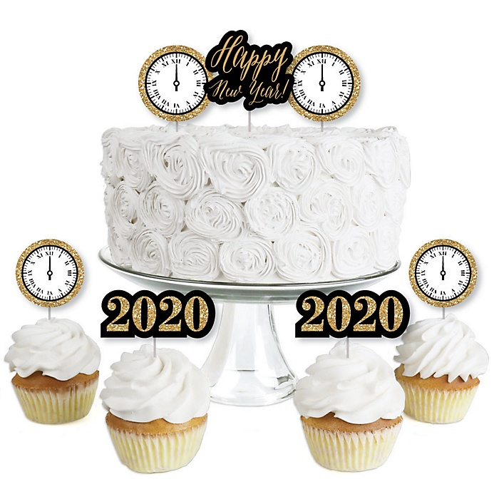 New Year's Eve - Gold - Dessert Cupcake Toppers - New Years Eve 2020 Party Clear Treat Picks - Set of 24