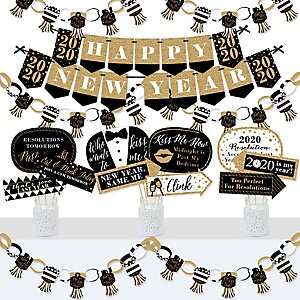New Year's Eve - Gold - Banner and Photo Booth Decorations - 2020 New Years Eve Party Supplies Kit - Doterrific Bundle