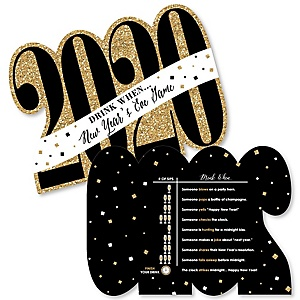 New Year's Eve - Gold - Drink When 2020 New Years Eve Party Game Cards - Drinking Game - 20 cards