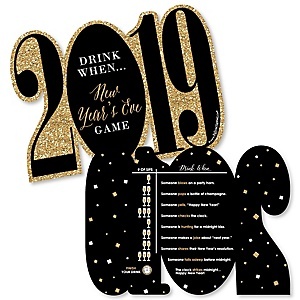 New Year's Eve - Gold - Drink When 2019 New Years Eve Party Game Cards - Drinking Game - 20 cards