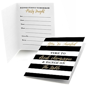 New Year's Eve - Gold - Fill In New Year's Eve Party Invitations - 8 ct