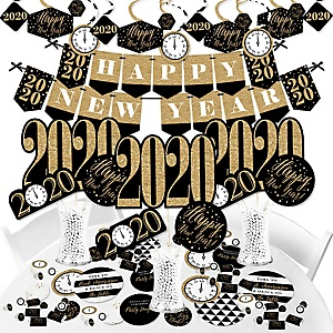 New Year's Eve - Gold - 2020 New Years Eve Party Supplies - Banner Decoration Kit - Fundle Bundle