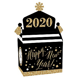 New Year's Eve - Gold - Treat Box Party Favors - 2020 New Years Eve Party Goodie Gable Boxes - Set of 12