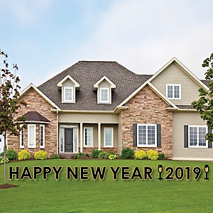 Happy New Year - Yard Sign Outdoor Lawn Decorations - 2019 New Years Eve Yard Signs