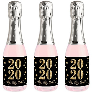 New Year's Eve - Gold - Mini Wine and Champagne Bottle Label Stickers - 2020 New Years Eve Party Favor Gift - For Women and Men - Set of 16