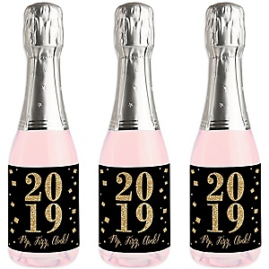 New Year's Eve - Gold - Mini Wine and Champagne Bottle Label Stickers - 2019 New Years Eve Party Favor Gift - For Women and Men - Set of 16