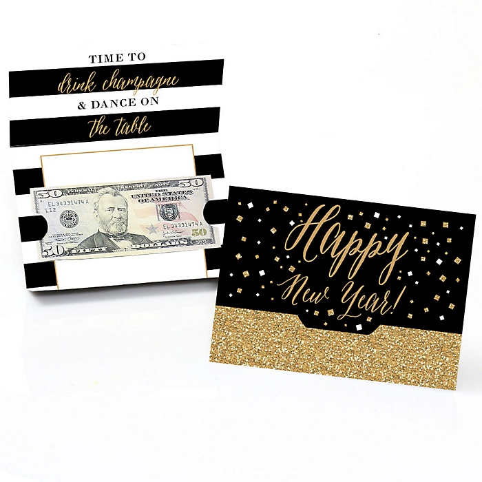 New Year's Eve - Gold - Set of 8 New Years Eve Party Money And Gift Card Holders