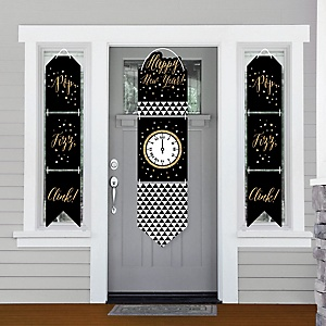 New Year's Eve - Gold - Hanging Porch Front Door Signs - New Years Eve Party Banner Decoration Kit - Outdoor Door Decor