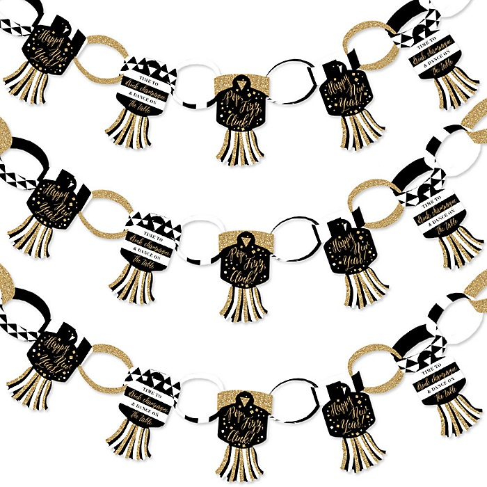 New Year's Eve - Gold - 90 Chain Links and 30 Paper Tassels Decoration Kit - New Years Eve Party Paper Chains Garland - 21 feet