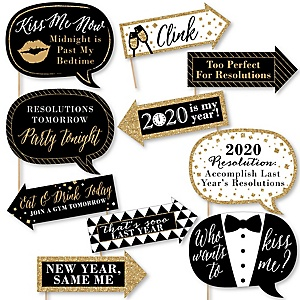 Funny 2020 New Year's Eve - 10 Piece New Year's Eve Photo Booth Props Kit