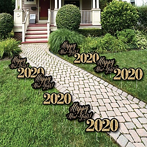 New Year's Eve - Gold - 2020 Lawn Decorations - Outdoor New Years Eve Yard Decorations - 10 Piece