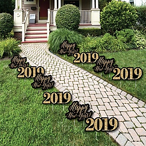 New Year's Eve - Gold - 2019 Lawn Decorations - Outdoor New Years Eve Yard Decorations - 10 Piece