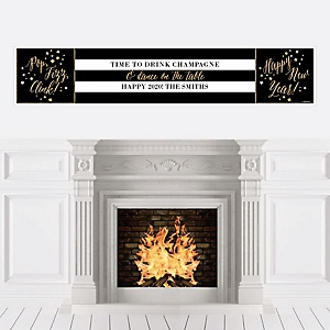 New Year's Eve - Gold - Personalized 2020 New Year's Eve Party Banners