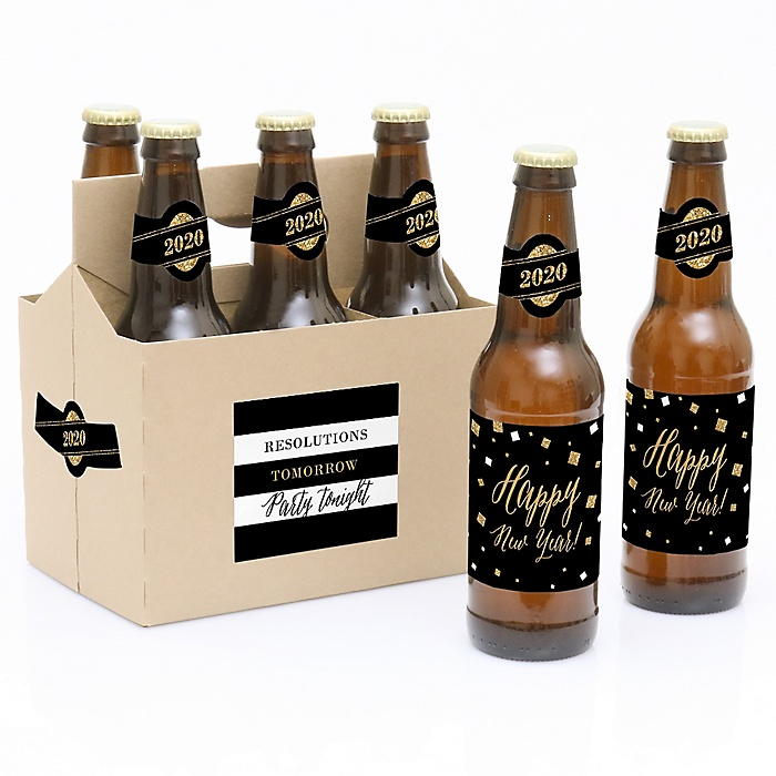 New Year's Eve - Gold - Decorations for Women and Men - 6 New Year's Eve 2020 Beer Bottle Label Stickers and 1 Carrier
