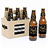 New Year's Eve - Gold - 6 New Year's Eve 2019 Beer Bottle Label Stickers and 1 Carrier
