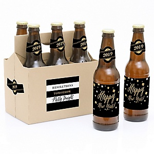 new years eve gold 6 new years eve 2019 beer bottle label stickers and 1 carrier bigdotofhappinesscom