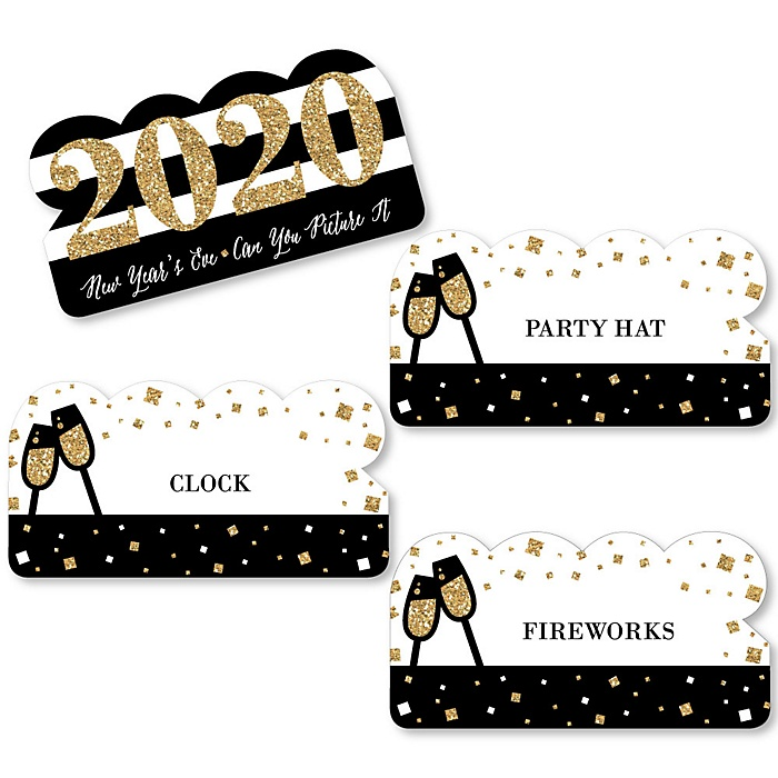 New Year's Eve - Gold - 2020 New Years Eve Party Game - Can You Picture It Card Game - Set of 24
