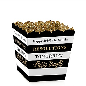 New Year's Eve - Gold - New Year's Eve Party Treat Candy Boxes - Set of 12