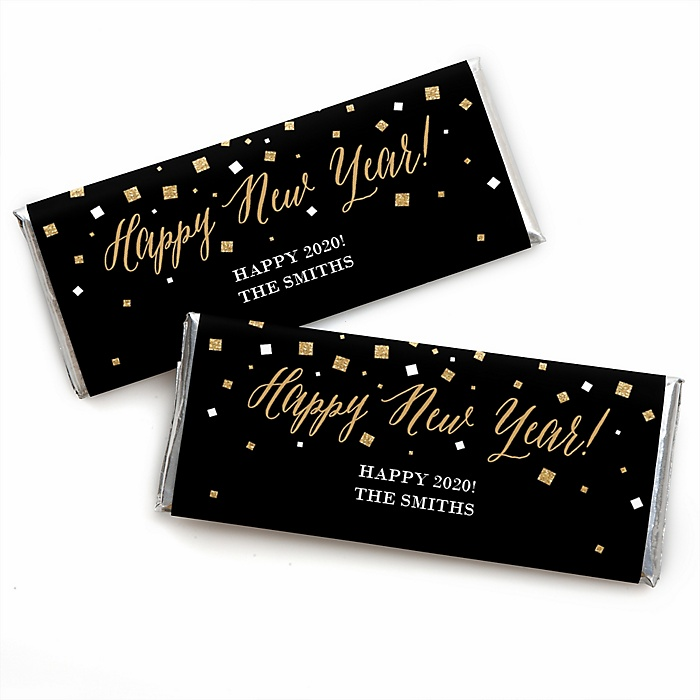 New Year's Eve - Gold - Personalized 2020 Candy Bar Wrappers New Year's Eve Favors - Set of 24