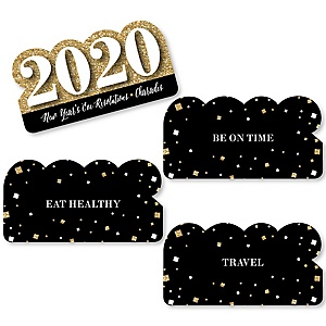 New Year's Eve - Gold - 2020 New Years Eve Party Game - Holiday Charades Cards - Set of 24