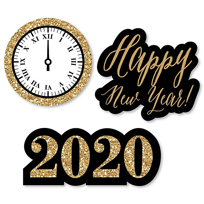 New Year's Eve - Gold - DIY Shaped 2020 New Year's Eve Party Paper Cut-Outs - 24 ct