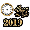 New Year's Eve - Gold - DIY Shaped 2019 New Year's Eve Party Paper Cut-Outs - 24 ct