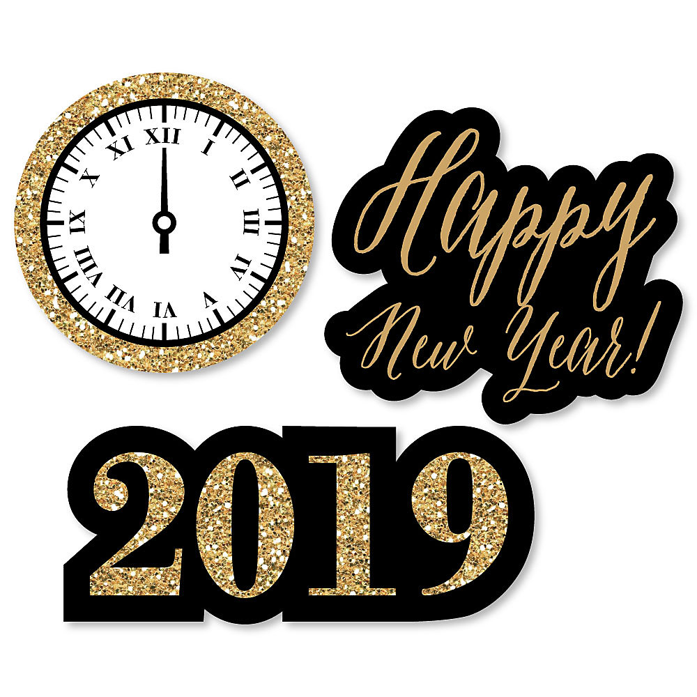 New Year\'s Eve - Gold - Shaped 2019 New Year\'s Eve Party Paper Cut ...