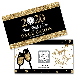 New Year's Eve - Gold - 2020 New Years Eve Party Scratch Off Dare Cards - 22 cards per set