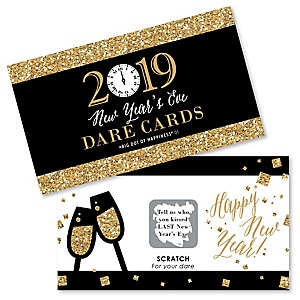 New Year's Eve - Gold - 2019 New Years Eve Party Scratch Off Dare Cards - 22 cards per set