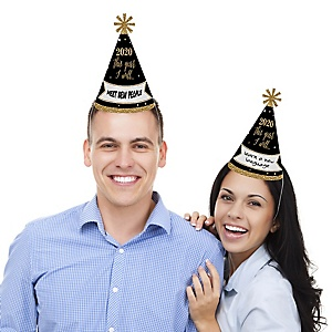 New Year's Eve - Gold - Cone Party Hats - 2020 New Year's Eve Resolution cone Party Hat for Kids and Adults - Set of 8 (Standard Size)