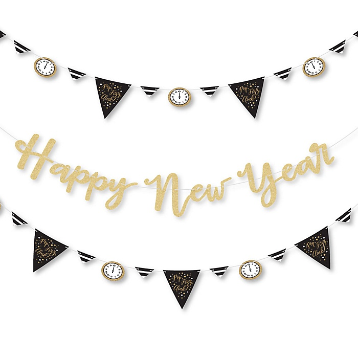 New Year's Eve - Gold - New Years Eve Letter Banner Decoration - 36 Banner Cutouts and No-Mess Real Gold Glitter Happy New Year Banner Letters