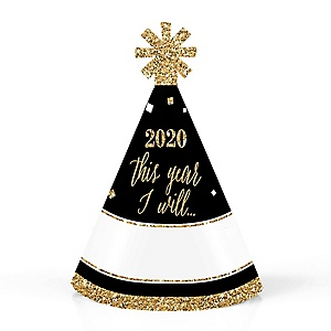 New Year's Eve - Gold - Mini Cone 2020 New Year's Eve Resolution Party Hats - Small Party Hats – Set of 10
