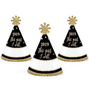 New Year's Eve - Gold - Mini Cone 2019 New Year's Eve Resolution Party Hats - Small Party Hats – Set of 10