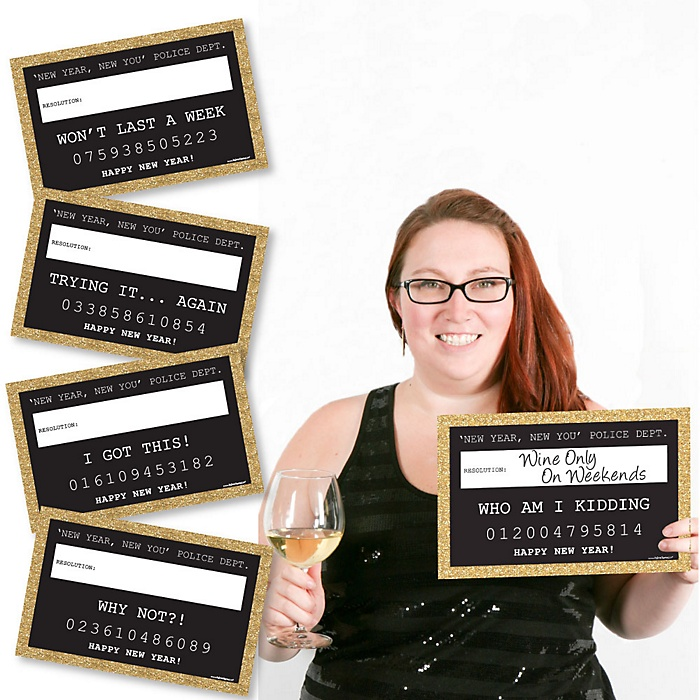 New Year's Eve - Gold - Party Mug Shots - 20 Piece Photo Booth Props Kit