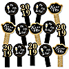 New Year's Eve - Gold - 2019 New Years Eve Party Paddle Photo Booth Props – Selfie Photo Booth Props – Set of 14